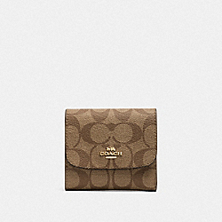 SMALL WALLET IN SIGNATURE CANVAS - KHAKI/NEON PINK/LIGHT GOLD - COACH F39192