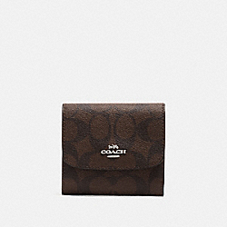 SMALL WALLET IN SIGNATURE CANVAS - BROWN/NEON YELLOW/SILVER - COACH F39192