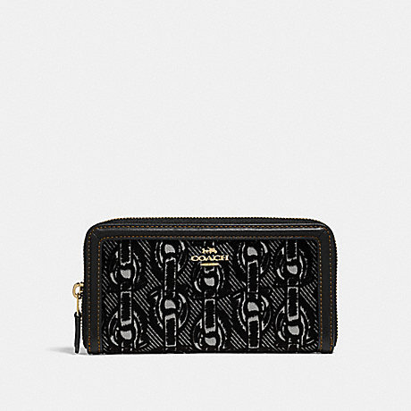 COACH ACCORDION ZIP WALLET WITH CHAIN PRINT - BLACK/LIGHT GOLD - F39203