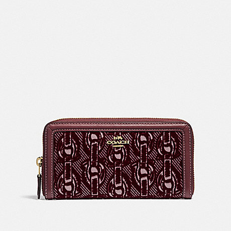COACH ACCORDION ZIP WALLET WITH CHAIN PRINT - CLARET/LIGHT GOLD - F39203