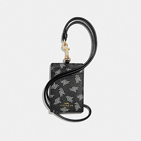 COACH ID LANYARD WITH CALICO PEONY PRINT - BLACK/MULTI/LIGHT GOLD - F39226