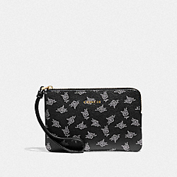 CORNER ZIP WRISTLET WITH CALICO PEONY PRINT - BLACK/MULTI/LIGHT GOLD - COACH F39229