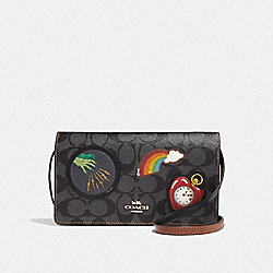 HAYDEN FOLDOVER CROSSBODY CLUTCH IN SIGNATURE CANVAS WITH WIZARD OF OZ PATCHES - BLACK SMOKE/BLACK MULTI/LIGHT GOLD - COACH F39268
