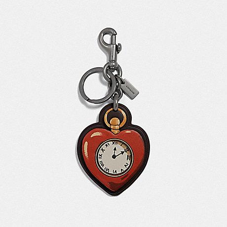 COACH TIN MAN HEART BAG CHARM - RED MULTI/BLACK ANTIQUE NICKEL - F39274