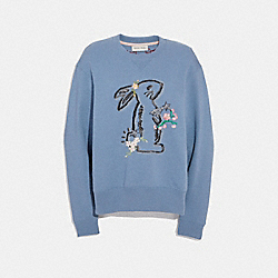 SELENA BUNNY SWEATSHIRT - DUSTY BLUE - COACH F39278