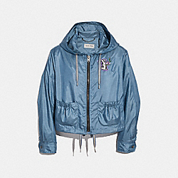 SELENA EMBELLISHED WINDBREAKER - DUSTY BLUE - COACH F39283