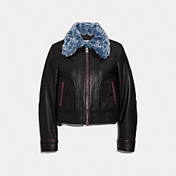 SELENA LEATHER JACKET WITH FAUX FUR - BLACK - COACH F39284