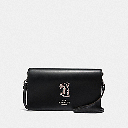 SELENA HAYDEN FOLDOVER CROSSBODY CLUTCH WITH BUNNY - BLACK/GUNMETAL - COACH F39314