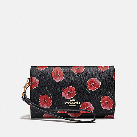 COACH FLAP PHONE WALLET WITH POPPY PRINT - BLACK/MULTI/LIGHT GOLD - F39369