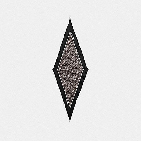 COACH SIGNATURE CHAIN SILK DIAMOND SCARF - BLACK - F39419