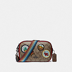 ISLA CHAIN CROSSBODY IN SIGNATURE CANVAS WITH WIZARD OF OZ PATCHES - KHAKI/MULTI/BLACK ANTIQUE NICKEL - COACH F39466