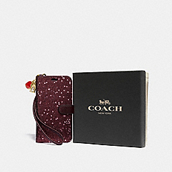 BOXED IPHONE X/XS PHONE FOLIO GIFT SET - RASPBERRY - COACH F39467