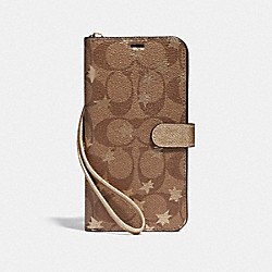 IPHONE XS MAX FOLIO IN SIGNATURE CANVAS WITH POP STAR PRINT - KHAKI/MULTICOLOR - COACH F39478