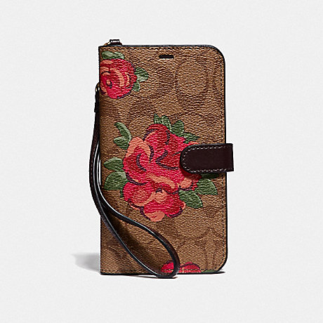 COACH IPHONE XR FOLIO IN SIGNATURE CANVAS WITH NEON FLOWER PRINT - KHAKI/MULTICOLOR - F39482