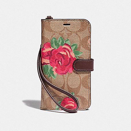 COACH IPHONE X/XS FOLIO IN SIGNATURE CANVAS WITH NEON FLOWER PRINT - KHAKI/MULTICOLOR - F39483