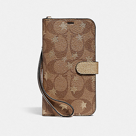 COACH IPHONE XR PHONE FOLIO IN SIGNATURE CANVAS WITH POP STAR PRINT - KHAKI/MULTICOLOR - F39485
