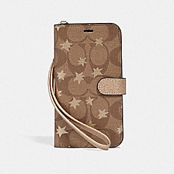 IPHONE X/XS PHONE FOLIO IN SIGNATURE CANVAS WITH POP STAR PRINT - KHAKI/MULTICOLOR - COACH F39486
