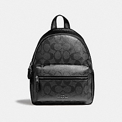 MINI CHARLIE BACKPACK IN SIGNATURE CANVAS - GUNMETAL/SILVER - COACH F39511