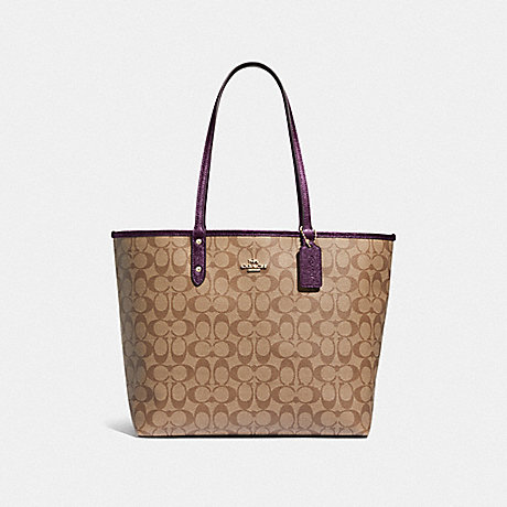 COACH REVERSIBLE CITY TOTE IN SIGNATURE CANVAS - KHAKI/METALLIC RASPBERRY/LIGHT GOLD - F39518