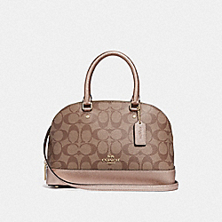 MINI SIERRA SATCHEL IN SIGNATURE CANVAS - KHAKI/ROSE GOLD/LIGHT GOLD - COACH F39519