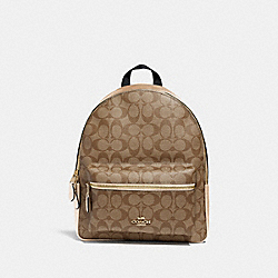 MEDIUM CHARLIE BACKPACK IN SIGNATURE CANVAS - GOLD/KHAKI/PLATINUM - COACH F39522