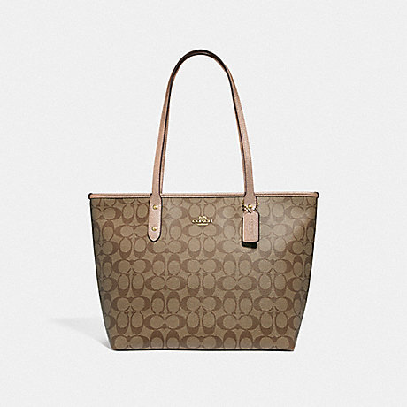 COACH CITY ZIP TOTE IN SIGNATURE CANVAS - KHAKI/ROSE GOLD/LIGHT GOLD - F39523