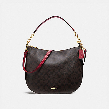 COACH ELLE HOBO IN SIGNATURE CANVAS - BROWN/TRUE RED/LIGHT GOLD - F39527