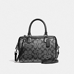 MINI BENNETT SATCHEL IN SIGNATURE CANVAS - GUNMETAL/SILVER - COACH F39557