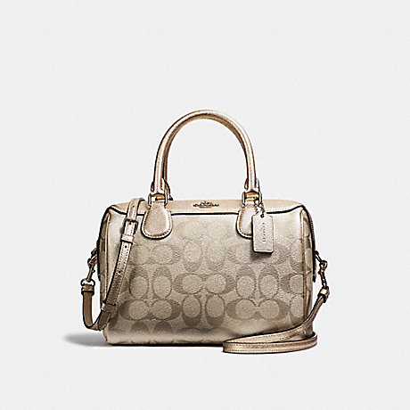 COACH MINI BENNETT SATCHEL IN SIGNATURE CANVAS - PLATINUM/SILVER - F39557