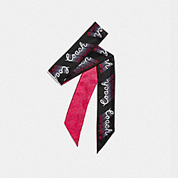 SIGNATURE NEON SILK SKINNY SCARF - NEON PINK - COACH F39566