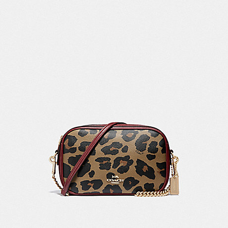 COACH ISLA CHAIN CROSSBODY WITH LEOPARD PRINT - NATURAL/LIGHT GOLD - F39587