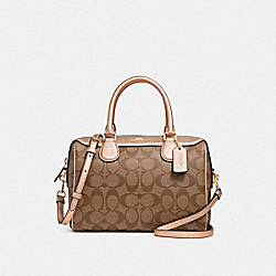 MINI BENNETT SATCHEL IN SIGNATURE CANVAS - KHAKI/ROSE GOLD/LIGHT GOLD - COACH F39588