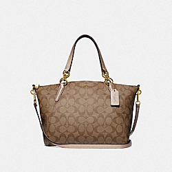SMALL KELSEY SATCHEL IN SIGNATURE CANVAS - KHAKI/ROSE GOLD/LIGHT GOLD - COACH F39590