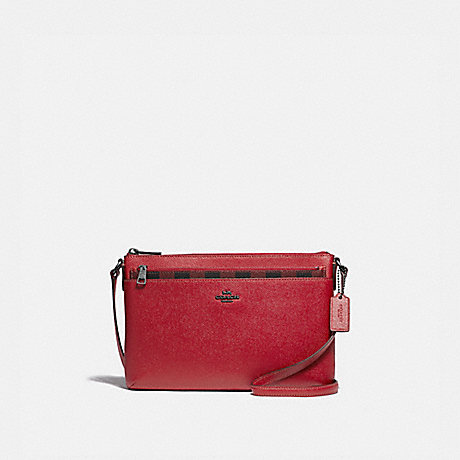 COACH EAST/WEST CROSSBODY WITH POP-UP POUCH WITH GINGHAM PRINT - RUBY MULTI/BLACK ANTIQUE NICKEL - F39607