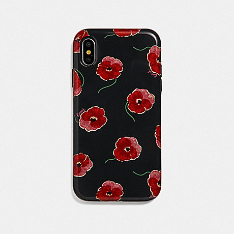 COACH IPHONE XR CASE WITH POPPY PRINT - BLACK/MULTICOLOR - F39613