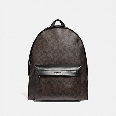 COACH CHARLES BACKPACK IN COLORBLOCK SIGNATURE CANVAS - MAHOGANY/BLACK/BLACK ANTIQUE NICKEL - F39647