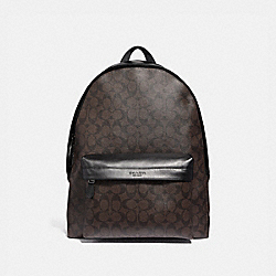CHARLES BACKPACK IN COLORBLOCK SIGNATURE CANVAS - MAHOGANY/BLACK/BLACK ANTIQUE NICKEL - COACH F39647