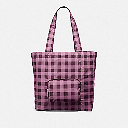 PACKABLE TOTE WITH GINGHAM PRINT - PRIMROSE/MULTI/LIGHT GOLD - COACH F39649