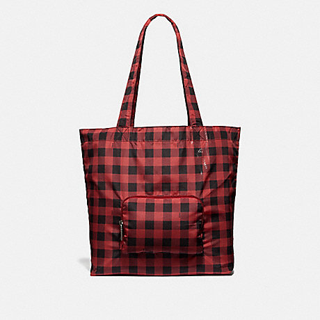 COACH PACKABLE TOTE WITH GINGHAM PRINT - RUBY MULTI/BLACK ANTIQUE NICKEL - F39649