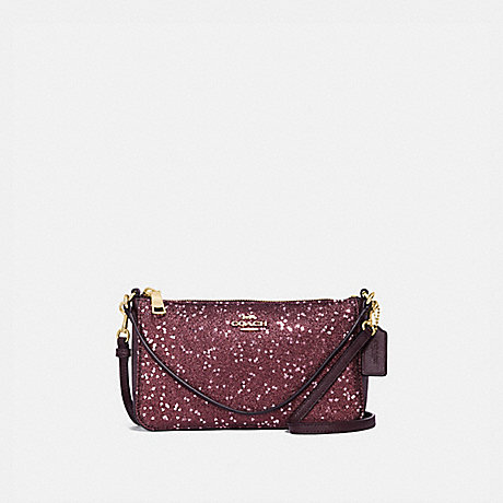 COACH TOP HANDLE POUCH WITH HEART GLITTER - RASPBERRY/LIGHT GOLD - F39655