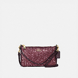 TOP HANDLE POUCH WITH HEART GLITTER - RASPBERRY/LIGHT GOLD - COACH F39655