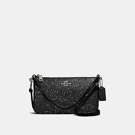COACH TOP HANDLE POUCH WITH STAR GLITTER - BLACK/SILVER - F39656