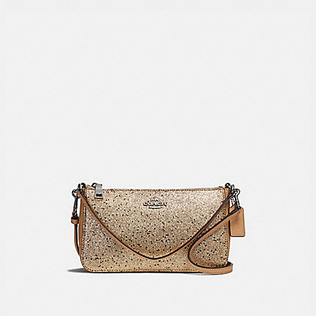 COACH TOP HANDLE POUCH WITH STAR GLITTER - GOLD/SILVER - F39656