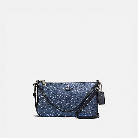 COACH TOP HANDLE POUCH WITH STAR GLITTER - MIDNIGHT/SILVER - F39656