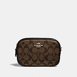 CONVERTIBLE BELT BAG IN SIGNATURE CANVAS - BROWN/BLACK/LIGHT GOLD - COACH F39657