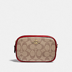 CONVERTIBLE BELT BAG IN SIGNATURE CANVAS - KHAKI/TRUE RED/LIGHT GOLD - COACH F39657