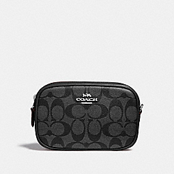 CONVERTIBLE BELT BAG IN SIGNATURE CANVAS - BLACK SMOKE/BLACK/SILVER - COACH F39657