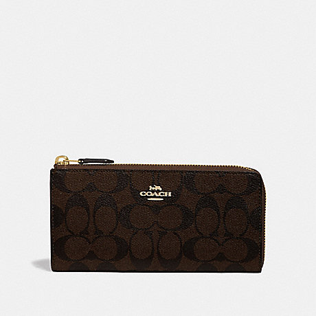 COACH L-ZIP WALLET IN SIGNATURE CANVAS - BROWN/BLACK/IMITATION GOLD - F39673