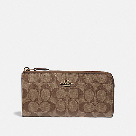 COACH L-ZIP WALLET IN SIGNATURE CANVAS - KHAKI/SADDLE 2/IMITATION GOLD - F39673