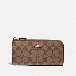 L-ZIP WALLET IN SIGNATURE CANVAS - KHAKI/SADDLE 2/IMITATION GOLD - COACH F39673